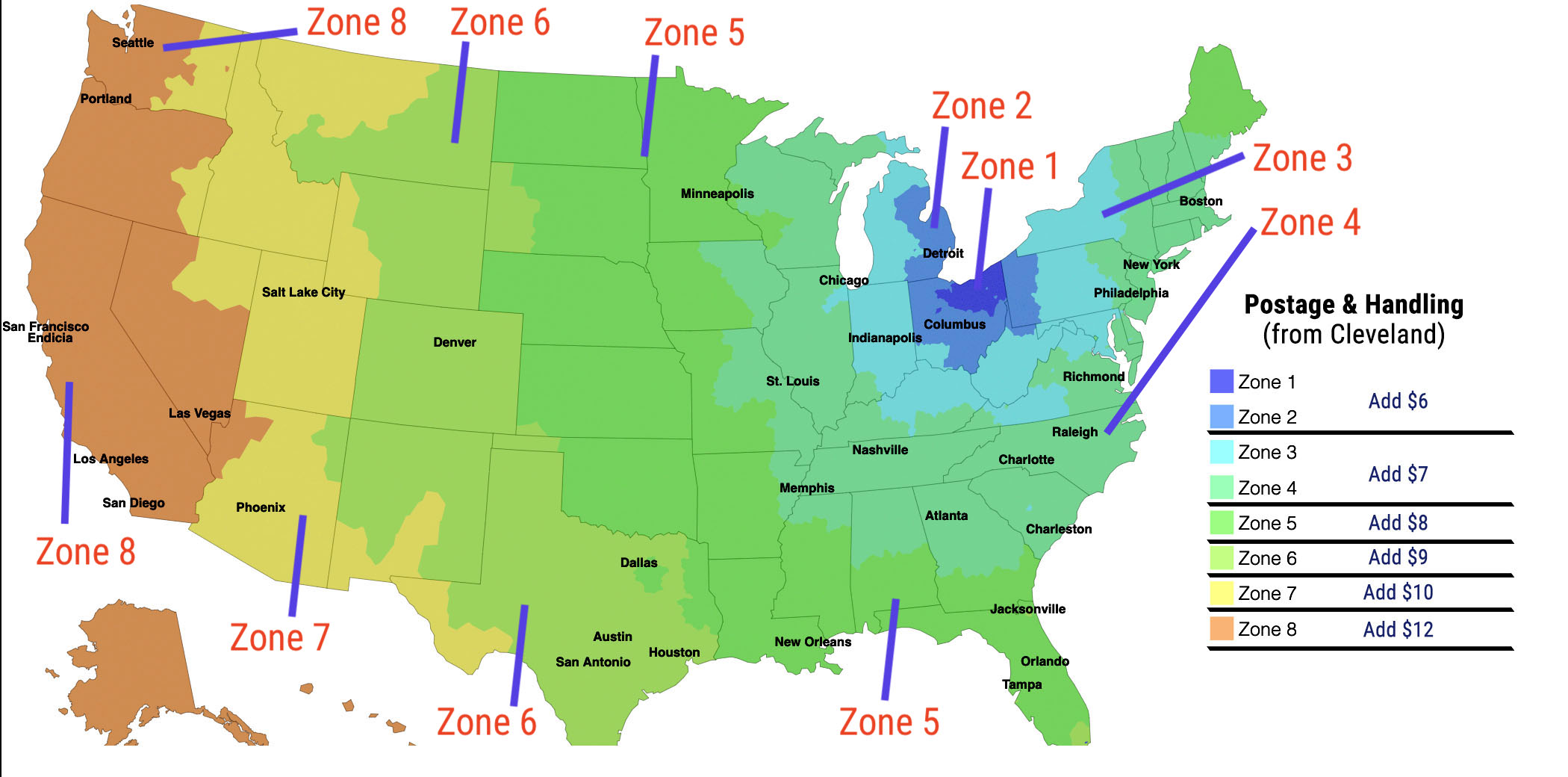 Shipping Zones from Cleveland